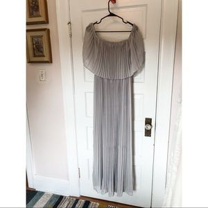 Ricarica Pleated Off the Shoulder Maxi Dress